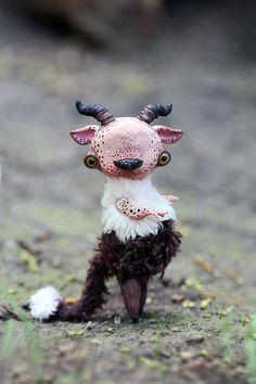 little Faun by da-bu-di-bu-da on DeviantArt Polymer Clay Animals, Polymer Clay Art, Soft Sculpture, Sculptures, Clay Monsters, Art Fantaisiste, Rare Animals, Polymer Clay Creations, Whimsical Art