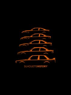 SilhouetteHistory Silhouettes of the BMW two-door M3/M4 cars: E30, E36, E46, E92 M3 and F32 M4