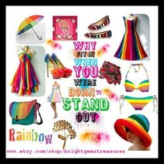 A rainbow of beautiful fashions from jewelry to bikinis all my Etsy items are 20% off come and get um;0)