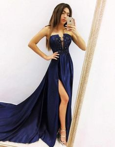 Deep Blue Satin Sweep Train Slit Long Prom Dress, Evening Dress sold by Girlsprom. Shop more products from Girlsprom on Storenvy, the home of independent small businesses all over the world. Bridesmaid Dresses Plus Size, Prom Dresses Blue, Day Dresses, Strapless Dress Formal, Plus Size Formal Dresses, Simple Dresses, Lovely Dresses, Marine Uniform, Short Gowns
