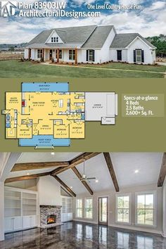 Architectural Designs House Plan gives you one-level modern farmhouse living with 4 beds, baths and over sq. of heated living space. Design one floor Plan One Level Country House Plan Barn House Plans, New House Plans, Dream House Plans, My Dream Home, One Level House Plans, Dream Houses, Four Bedroom House Plans, Bungalow House Plans, Family House Plans