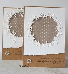 Kraft+white= simple Christmas cards                                                                                                                                                                                 More