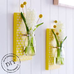 etsyfindoftheday 5 | 3.27.14 theme thursday: urbancrafterdiy scallop-print wall vase/sconce DIY kit by urbancrafterdiy one more hip 'n trendy DIY kit find: a duo of wall sconces, ready to be painted with country-charm yellow and white scallops. love the bud vase size — it looks perfect with the craspedia in there :) thanks for sticking with today's theme, followers — i hope you love urbancrafterdiy's fun project kits as much as i do!!