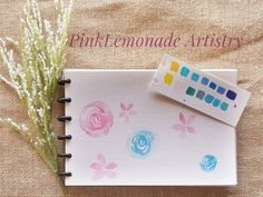 Watercolor floral and color swatches  Canson watercolor paper Cotman Winsor and newton
