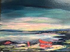 Red boat in the lakes Lakes, Boat, Artwork, Artist, Red, Painting, Dinghy, Work Of Art, Artists