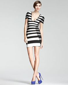 Striped Bandage Dress by Herve Leger at Neiman Marcus.
