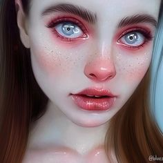 Digital Art Girl, Digital Portrait, Portrait Art, Portraits, Realistic Drawings, Anime Art Girl, Aesthetic Art, Cartoon Art, Art Inspo