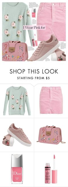 """""""I Wear Pink For My Sister"""" by fattie-zara ❤ liked on Polyvore featuring Topshop, Christian Dior, Charlotte Russe, sisterlove, breastcancerawareness and zaful"""