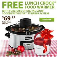 For a limited time only, when you purchase a Crock-Pot® Digital Slow Cooker with iStir™ Stirring System, you'll receive a Crock-Pot® Lunch Crock® Food Warmer. This is a great opportunity to get a gift for yourself & a friend! Get this deal today. Enter code L3CFFBK at checkout. #CrockPot #SlowCooker #holiday #gift #deal #offer