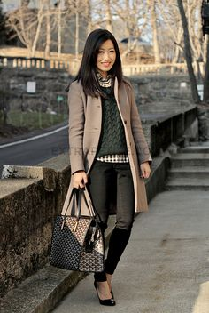 hunter green sweater over gingham/plaid shirt with black skinnies and flats. and pearls of course.