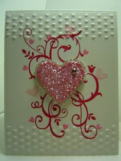 SUO Valentine's Day Embossing   Stamps: Baroque Motifs, I Heart Hearts, Itty Bitty Bits   Paper: WW, Silver Glitter   Ink: Real Red, Regal Rose, Pretty in Pink   Accessories: Adorning Accents EF, Scalloped Heart Embosslit, Heart Framelit, Rhinestone, Dimensionals   Techniques: Embossing