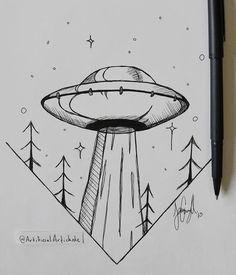 doodle art for beginners ; doodle art for beginners easy drawings Alien Drawings, Space Drawings, Cool Art Drawings, Pencil Art Drawings, Doodle Drawings, Art Drawings Sketches, Doodle Art, Easy Drawings, Tattoo Drawings
