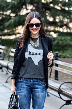 Black blazer, grey sweater, antique necklace, sunglasses and jeans for fall <3 Texas <3