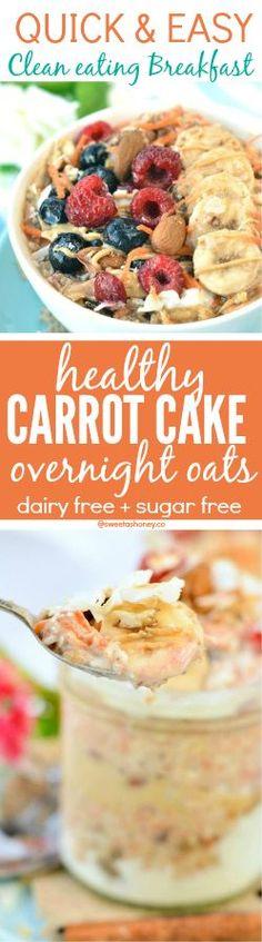 Healthy Carrot Cake Overnight Oats | Clean eating breakfast | Overnight Oats in a jar | Easy | Sugar free breakfast | Dairy free overnight oats | Low Calorie | Vegan