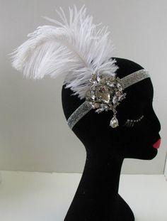 Designer Clothes, Shoes & Bags for Women Great Gatsby Headpiece, Feather Headpiece, Flapper Headband, Head Wrap Headband, Diy Headband, Fascinator, Feather Hair, White Headband, Headdress