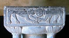 Bancigny, les fonds baptismaux de l'église fortifiée .Aisne, Nord-Pas-de-Calais