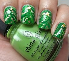 Green / Gold / Christmas Tree Nails