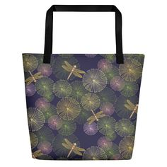 Weeked Beach Bag Dragonfly Tote by JaanaHalmeDesign on Etsy Designer Totes, Beach Blanket, Vibrant Colors, Handmade Items, Tote Bag, Canvas, Fabric, Pattern, Cotton