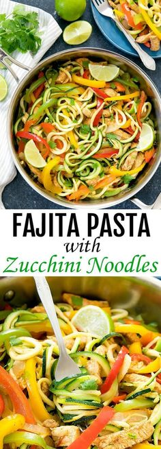 One Pot Fajita Pasta with Zucchini Noodles. A lighter and low carb version of fajita pasta using zucchini noodles. Everything cooks in one pan for easy clean-up.