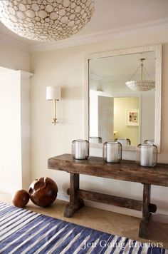 Love The Entry Hall Table and fixture (which we carry)