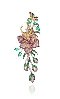 Lot 6 Mirari (New Delhi) – Zambian emerald, Mozambican ruby and diamond earrings and necklace set in 18k pink and white gold. Estimate: $60,...