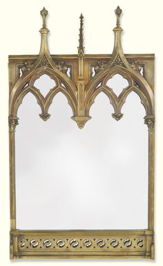 A Victorian Gothic revival brass frame, now mounted as a mirror late century height 41 in. width 23 in. Victorian Design, Victorian Gothic, Victorian Homes, Gothic Lolita, Gothic Architecture, Interior Architecture, Cathedral Architecture, Home Deco, Renaissance
