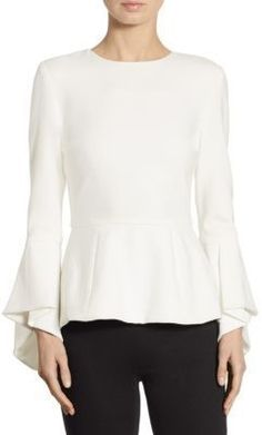 Alice And Olivia Alice + Olivia Ruby Trumpet-sleeve Peplum Blouse In Off White Lace Peplum, Peplum Blouse, Blouse Styles, Blouse Designs, Bluse Outfit, Lolita Dress, Apparel Design, Business Fashion, Timeless Fashion