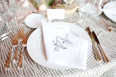 dotted table linens and the perfect monogrammed napkins  Photography by perezweddings.com, Planning, Floral   Event Design by toddevents.com