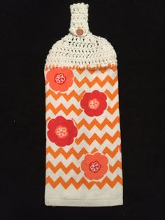 Crocheted Top Dish Towel  Chevron Floral by HandMadeInMadison