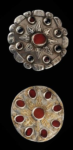 Iran | Two small buttons / collar pins ~ golchakah ~ from the Yomud people | Silver, silver gilt, carnelian and glass