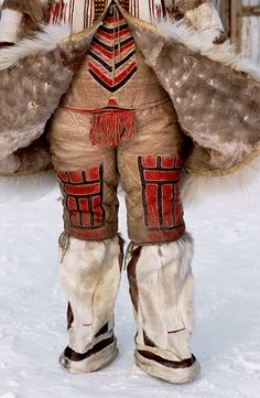 A traditional Nganasan woman's combination reindeer skin under garment worn together with knee length boots.: Russia, Taymyr: Arctic & Antarctic photographs, pictures & images from Bryan & Cherry Alexander Photography. Arte Inuit, Costumes Around The World, Tribal People, Folk Costume, People Of The World, World Cultures, Ethnic Fashion, Traditional Dresses, Martial