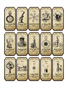 Halloween Steampunk Apothecary Label Stickers Set of 15 Scrapbooking Crafts | eBay
