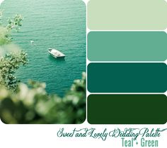 Wedding Color Palette / Teal + Green, Bolder than I usually like but this is lovely