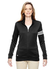 adidas Womens climalite 3-Stripes Pullover A191 -BLACK/ WHITE M. 3-Stripes on left sleeve. self mock collar. elastic cuffs. contrast adidas brandmark on bottom right hem.