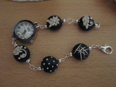 polymer clay beads for a watch bracelet.