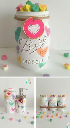 Love these hand painted distressed Valentine inspired Mason Jars. Adorable Valentines Day Mason Jars Decor. Distressed Mason Jars. #Ad #valentinesday #homedecor #masonjars
