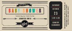 Arrow Retro Baby Shower Invitation
