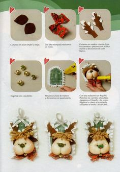 Muñecos soft navidad 2015 - Revistas de manualidades Gratis Diy Craft Projects, Crafts To Do, Diy Crafts, Mary Christmas, Christmas Sewing, Christmas Ornaments, Reno, Gift Wrapping, Place Card Holders
