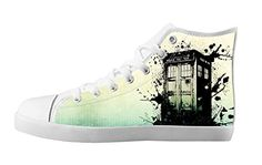 Tailor-made Women's White High Top Canvas Sneakers Doctor Who Cartoon Image Classical Lace-up Casual Shoes-8M(US)