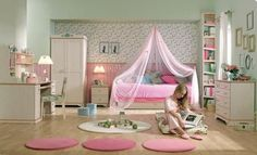 Neutral Girl Bedroom With Pink Accents...For more kids room decor and organizing tips, ideas and products 'LIKE' https://www.facebook.com/KidsRoomDecor