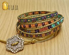 Wrap Bracelet with Crystals and Beads on Gold by OhlalaJewelry