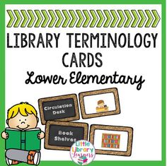 Library Terminology Cards- Lower Elementary Library Games, Library Skills, Library Science, Kids Library, Reading Library, Library Activities, Elementary Library, Library Lessons, Library Ideas