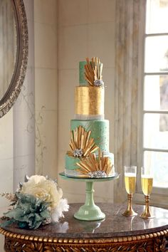 mint and gold wedding cake by Cake-A-Licious Utah - photo by Pepper Nix