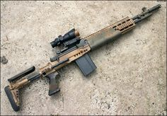 The United States Navy Mark 14 Mod 0 Enhanced Battle Rifle (EBR) is an American selective fire military rifle chambered for the NATO cartridge. It is a variant of the rifle, built. Sniper Rifles, Tactical Rifles, Firearms, Shotguns, Revolvers, Military Weapons, Weapons Guns, Guns And Ammo, Military Brat