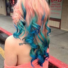 gorgeous peach to turquoise blue #Lacewigsbuy  #Hairstyles #Wigs  #Fashion #Beauty #Hair  #Makeup  #iziwig