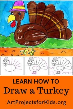 How to Draw a Cartoon Turkey · Art Projects for Kids