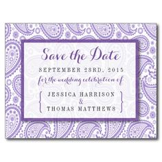 """Simple yet elegant, the modern paisley wedding collection is a stunning design featuring a lovely paisley print in a soft purple and white color, which is perfect for any modern wedding celebration. <br> <br> These save the date postcards can be personalized for your special occasion and would make the perfect announcements for your wedding, bridal shower, engagement party, birthday party and many more special occasions. <br> <br> Add your custom wording to this design by using the """"Edit ..."""