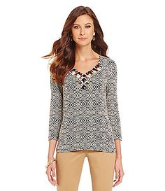 Ruby Rd Petite  Embellished VNeck Tribal Texture Weave Print Knit Top #Dillards