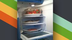 Multilayer plate shelving to save space in fridge or on kitchen counters/cabinets