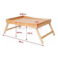 Plegable cama de bambú bandeja de servir desayuno en la cama o el uso como mesa TV ordenador portátil bandeja